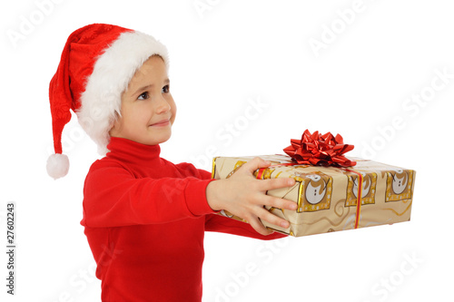 Little girl receiving yellow Christmas gift box