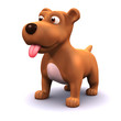 3d Small dogs tongue hangs out