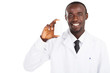 friendly african american pharmacist holding medicine