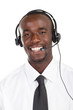 happy african american telephone salesman