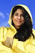 Beautiful young woman in raincoat