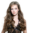 beautiful  woman with  long curly hairs
