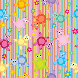 Stripes and bears pattern seamless, background for kids
