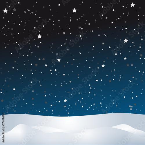 Hintergrundbild mit Sternenhimmel und Schneelandschaft