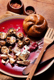 Baked mushrooms with blue cheese
