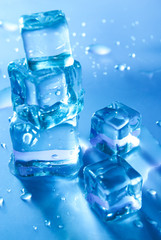 Blue melting ice cubes