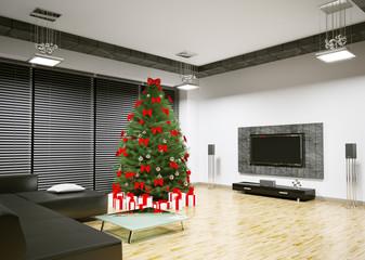 Modern Weihnachten Interior 3d render