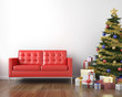 red couch and xmas tree