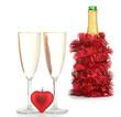 bouteille de champagne et flûtes