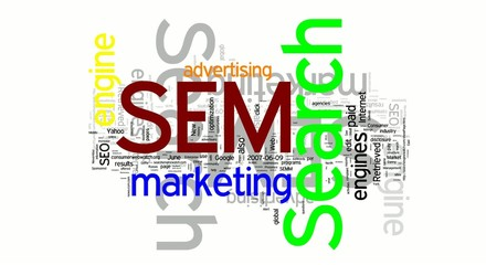 Sem, Seo and Search Engine words collage animation
