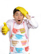 Expressions.shocked house man in apron and yellow glove for wash