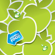 Background from green apples with an arrow by organic food