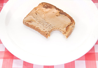 Peanut butter toast on plate