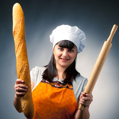 woman cook with bread and rolling-pin