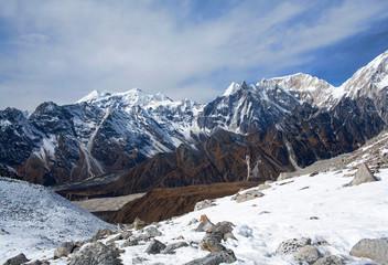 Panorama of Mountains in Manaslu Area