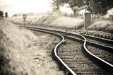 train tracks merging on a vintage railroad line poster