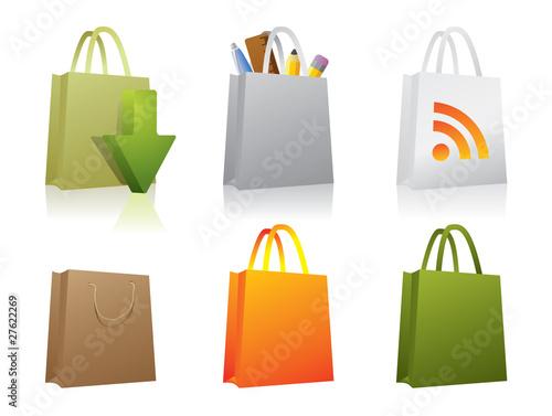 Six paper shopping bag icons.