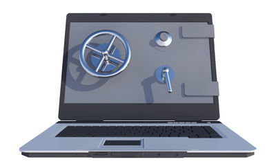 safe on laptop computer screen