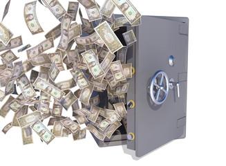 dollar bills flying out safe