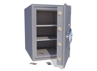 empty vault with some euro bills left