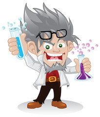 Mad Scientist Cartoon Character