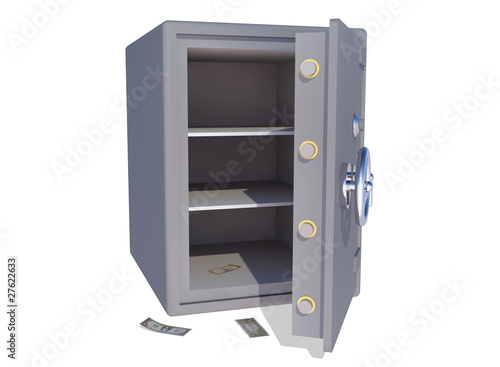 empty safe with some dollars left on the floor