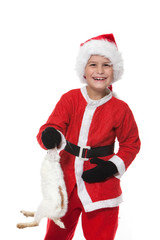 Boy holding a christmas rabbit