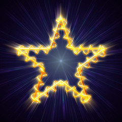 golden Christmas star with spiral in blue