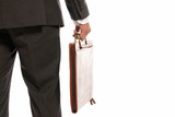 Unrecognizable businessman back with suitcase copy-space isolate poster