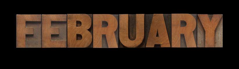 the word February in old letterpress wood type
