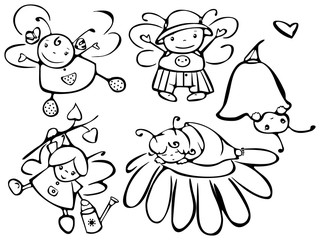 Set of cute angels for design