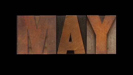 the word May in old letterpress wood type