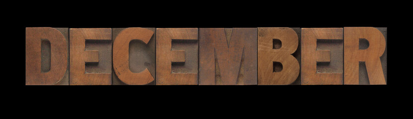 the word December in old letterpress wood type