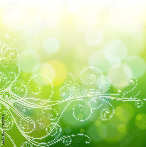 Green bokeh abstract light background & calligraphy ornament
