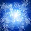 snowflakes, floral ornament, blue sky