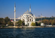 Dolmabahce mosque at the coast of Bosphorus in Istanbul, Turkey