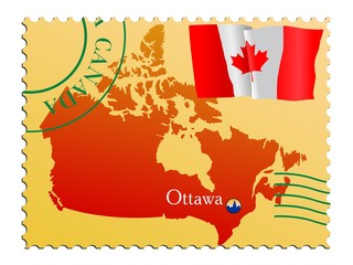 Ottawa - capital of Canada. Vector stamp