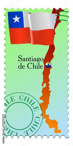 Santiago - capital of Chile. Vector stamp