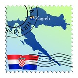 Zagreb - capital of Croatia. Vector stamp poster