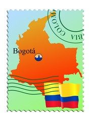 Bogotá - capital of Colombia. Vector stamp