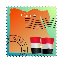 Cairo - capital of Egypt. Vector stamp