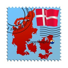 Copenhagen - capital of Denmark. Vector stamp
