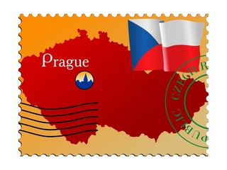 Prague - capital of the Czech Republic. Vector stamp