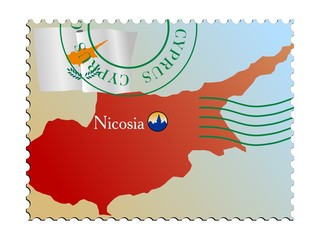 Nicosia - capital of Cyprus. Vector stamp