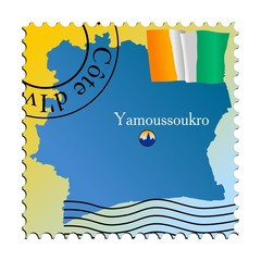 Yamoussoukro - capital of Cote d'Ivoire. Vector stamp