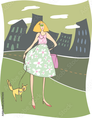 Urban Woman Walking Her Funny Cat