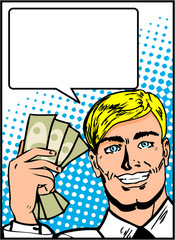 Pop Art Business Man with Money