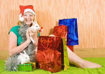 teenager girl with Christmas gifts