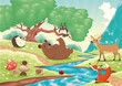Animals in the wood. Vector landscape, isolated objects.