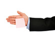 Pink memo note on businessman hand